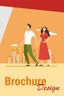 Young couple walking in city. man and woman holding hands flat vector illustration. citizens, outdoor activity, dating in city concept