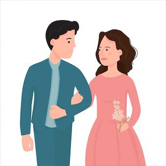 Молодая пара ходить вместе и держа руку