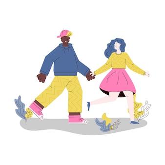一緒に歩く若いカップルは白い背景で隔離