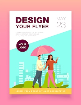 Young couple walking under umbrella in rainy day flyer template
