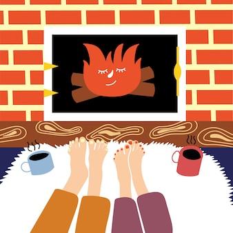 足を暖める若いカップル暖炉満足している人々は北欧の概念を慰めます