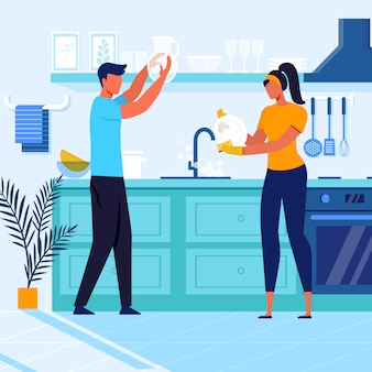 Young couple washing crockery vector illustration