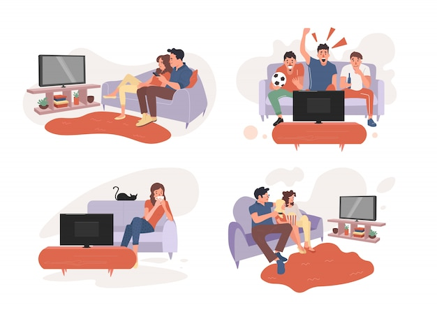 Young couple watch tv together.fans watching the live broadcast of the match on tv.parent couple and girl watching tv.young woman watches tv.  illustration