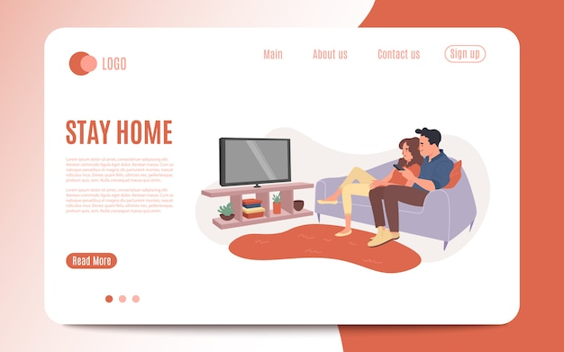 Young couple watch tv together. happy man and woman sitting on couch and watching television show. family movie night, lovers character home relax and watch video. illustration