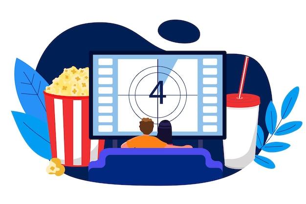 自宅のソファでテレビを見ている若いカップルベクトルイラストホーム映画館のコンセプト