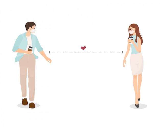 Молодая пара носить маску с кофе ходить вместе с социальной расстояние иллюстрации