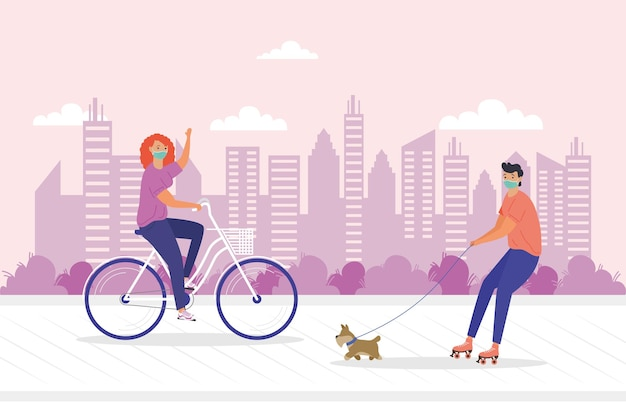 Young couple wearing medial mask in bicycle and skates with dog illustration design