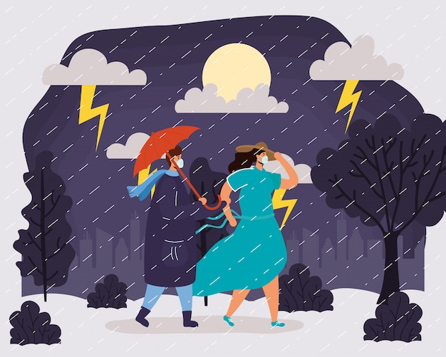 雨の天候のシーンで医療用マスクを着ている若いカップル