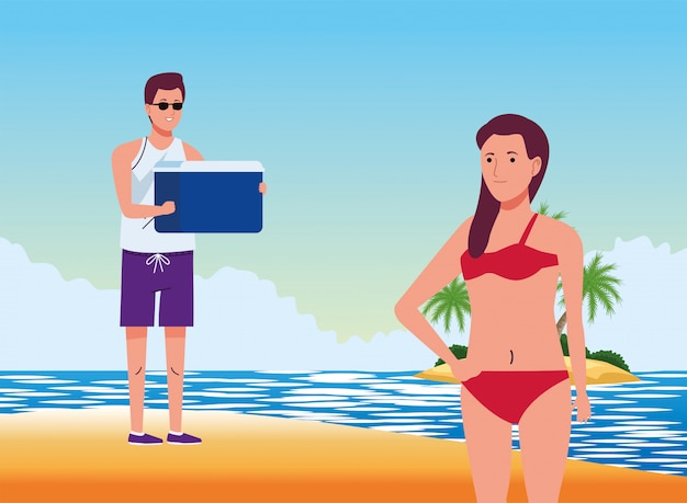 Young couple wearing swimsuits with fridge box on the beach scene