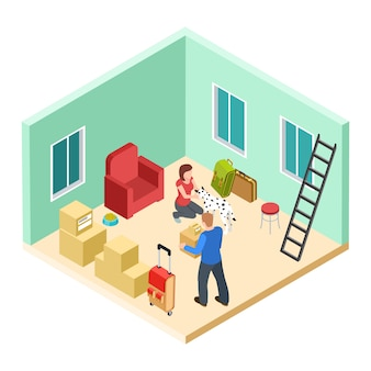 犬と若いカップルが新しいアパートのアイソメ図に移動します