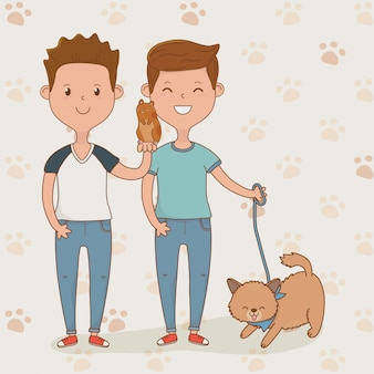 Young couple with cute cat mascot