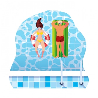 Young couple with float mattress in water