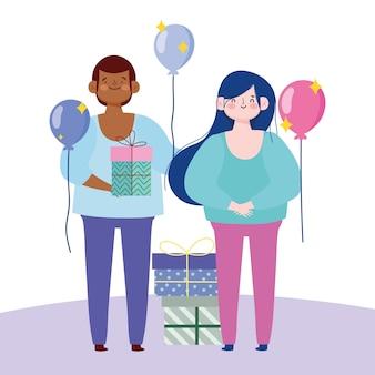 Молодая пара с подарочными коробками воздушными шарами мультфильм векторные иллюстрации