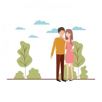 風景のアバターキャラクターと若いカップル