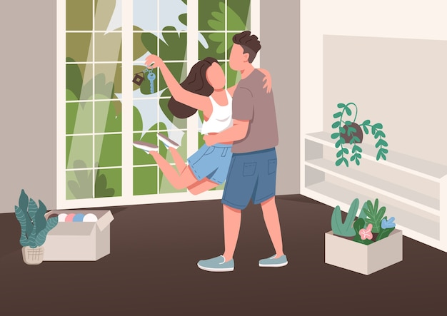 Young couple with new apartment key flat color illustration. young family happy moment. wife and husband relocating 2d cartoon characters with living room interior on background