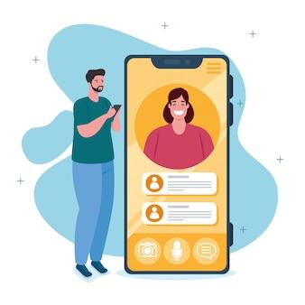 ビデオ通話、ソーシャルメディアの概念でスマートフォンと若いカップル