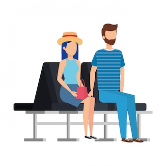 Young couple with suitcase in the airport