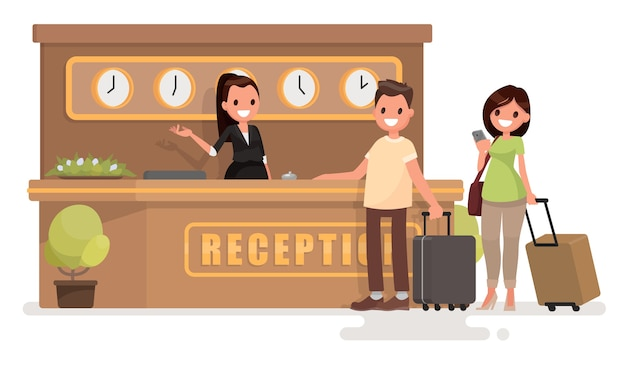 Young couple with suitcases is standing at the reception desk
