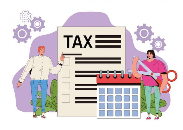 세금 및 달력과 함께 젊은 부부