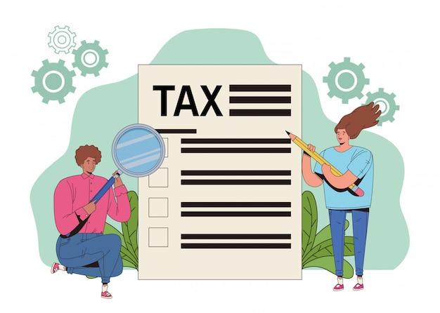 세금과 돋보기와 젊은 부부