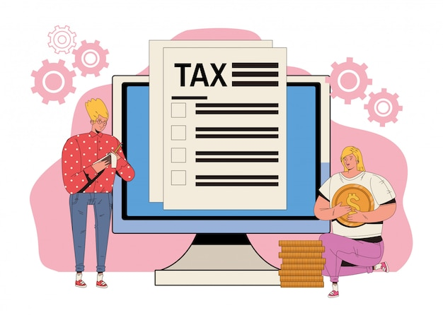 Young couple with tax and desktop