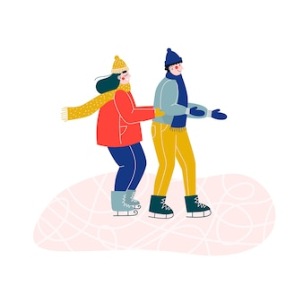 Young couple of woman and man ice skating together on ice rink, holding hands.