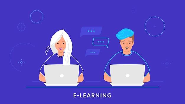 Молодая пара работает с ноутбуком на рабочем столе, набрав на клавиатуре. плоская линия векторные иллюстрации электронного обучения, обучения студентов и онлайн-чата. люди, работающие с ноутбуком на синем фоне