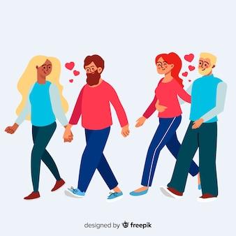 Молодые влюбленные пары гуляют вместе