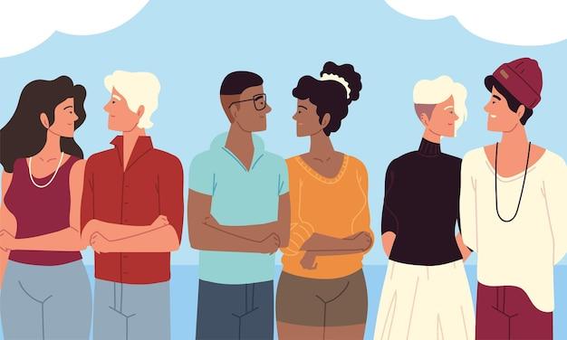 젊은 커플 초상화, 그룹 사람들