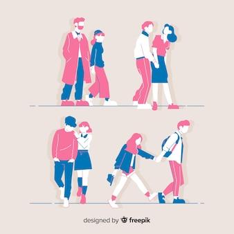 함께 걷는 젊은 부부