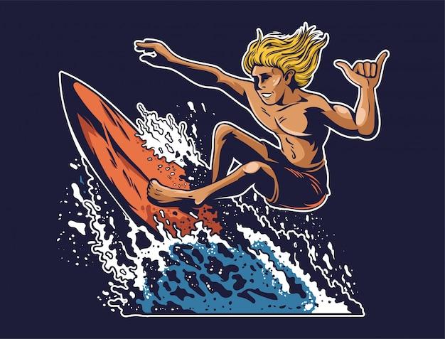 若い狂気のサーファーがヤシと熱い太陽と海海夏のビーチの間の美しい場所で大きな良い青い波でサーフィンします。ビンテージポスタースタイル。モダンなイラストの漫画のキャラクター
