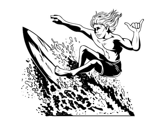 큰 좋은 파도에 서핑 미친 젊은이 서퍼.