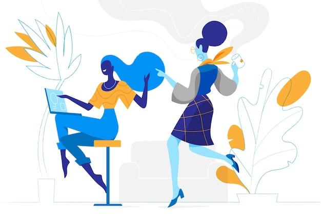 Young creative women work together in the office