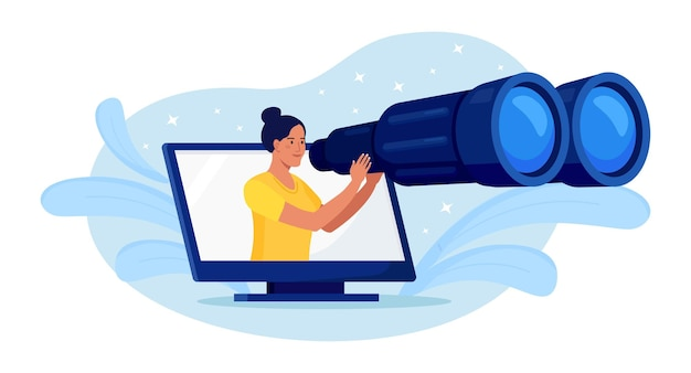 호기심 많은 젊은 여성이 큰 쌍안경을 손에 들고 멀리 바라보며 기대하고 컴퓨터를 검색합니다. 최적화, 프로그래밍 프로세스 및 웹 분석. 비즈니스 연구, 개발