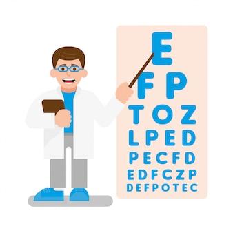若いかわいい医者の眼科医は視力検査を実施します。彼は毎回小さくなっている多くの手紙でポスターにポインターを示します。モダンなイラストフラットデザインの漫画のキャラクター。