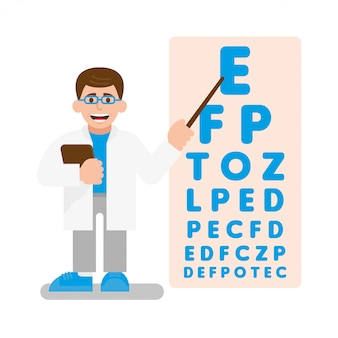 Young cute doctor oculist conduct a test on vision. he show a pointer on poster with many letters which are becoming smaller every time. modern   illustration flat design cartoon character.