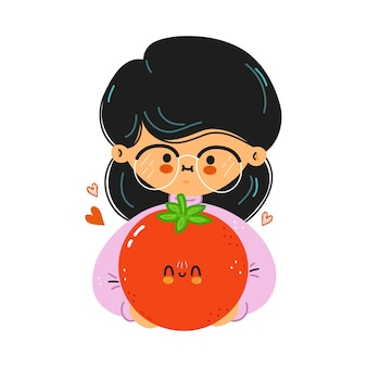 Young cute funny girl hold tomato in hand