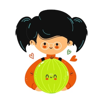 Young cute funny little girl hold bell pepper in hand