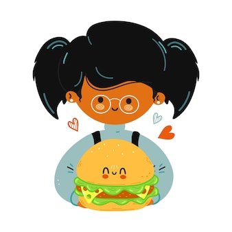 Young cute funny little girl hold hamburger in hand