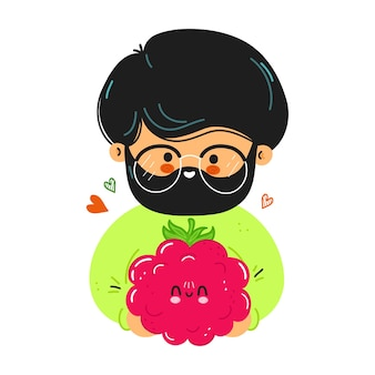 Young cute funny man hold raspberries in hand