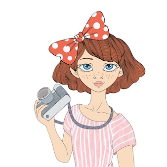 写真カメラを持つ若いかわいい女の子。肖像画のイラスト、白い背景で隔離。