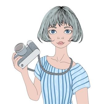 写真カメラを持つ若いかわいい女の子。肖像画のイラスト、孤立。