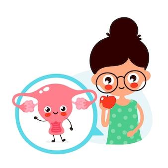 Young cute woman eat apple fruit. happy cute uterus in circle.