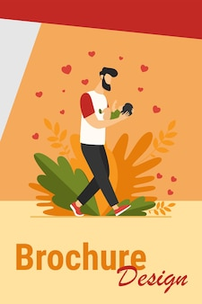 Young dad walking and carrying baby. new father admiring child flat vector illustration. love, fatherhood, childcare concept