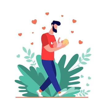 Young dad walking and carrying baby. new father admiring child flat vector illustration. love, fatherhood, childcare