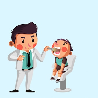 Young dentist check up boys teeth illustration