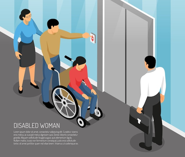 Young disabled woman in wheel chair with accompanying persons waiting lift isometric