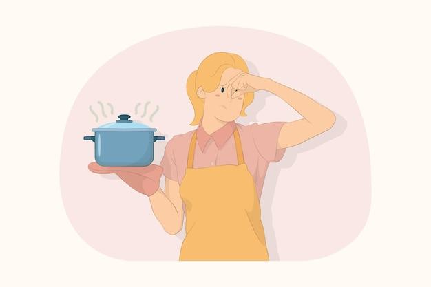역겨운 젊은 요리사 요리사 제빵사는 수프 스테인리스 냄비 문질러 코 개념에 손을 대고 잡고
