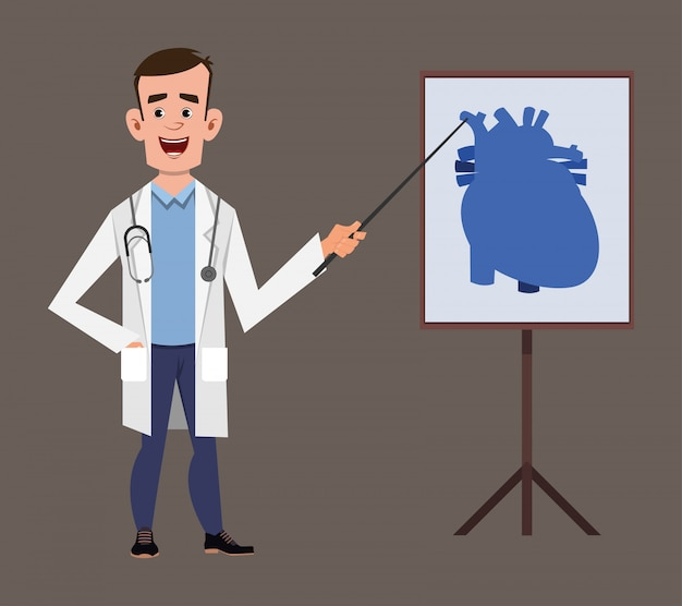Young doctor cartoon character giving presentation