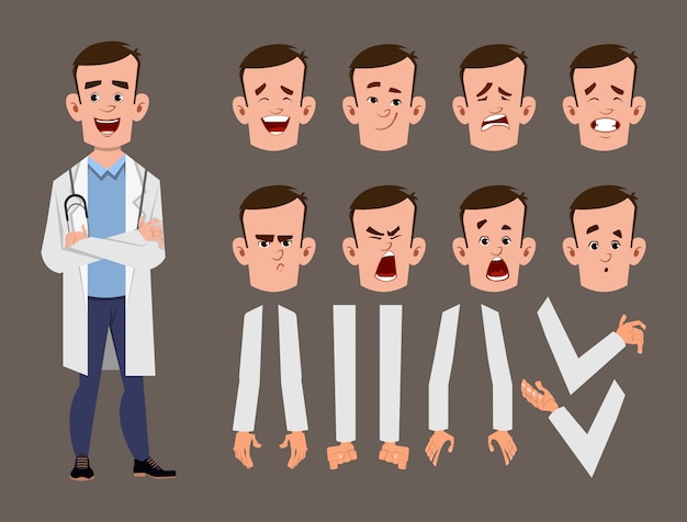 Young doctor cartoon character set for your animation, design or motion with different facial emotions and hands